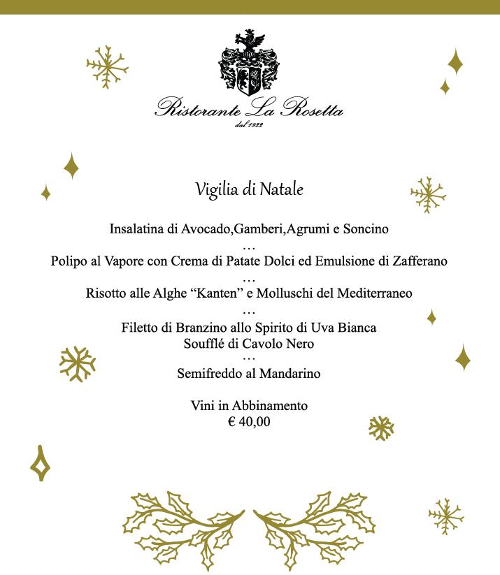 Menu Cenone Di Natale.Vigilia Natale Al Ristorante La Rosetta Ristorante La